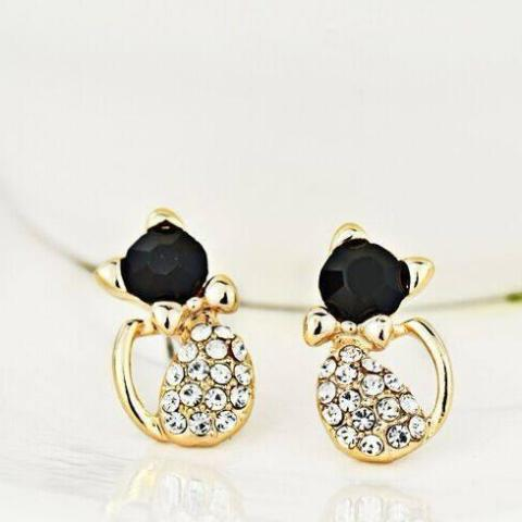 Rhinestone Cat Earrings - Catify.co