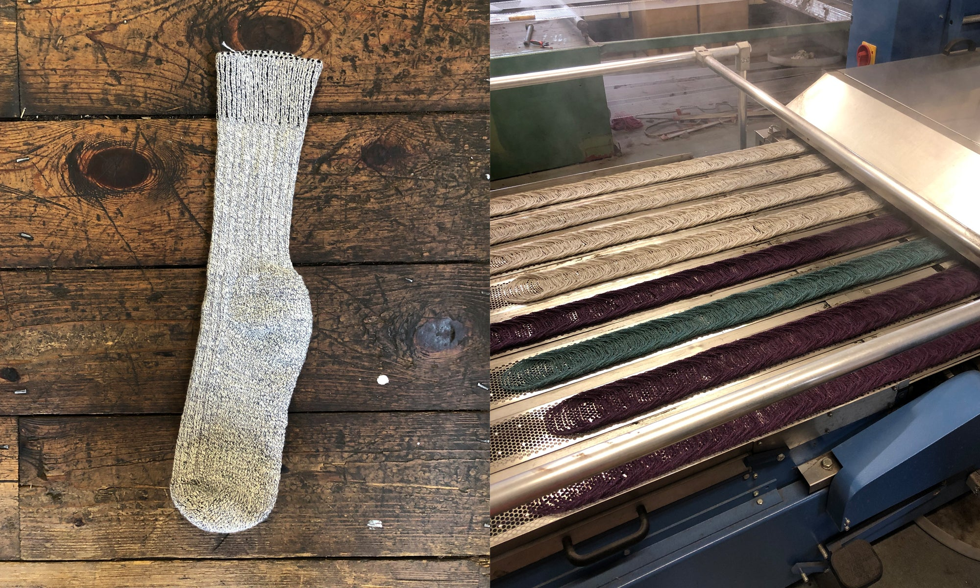 The manufacturer created a sample sock. Wool thread is spun onto cones.