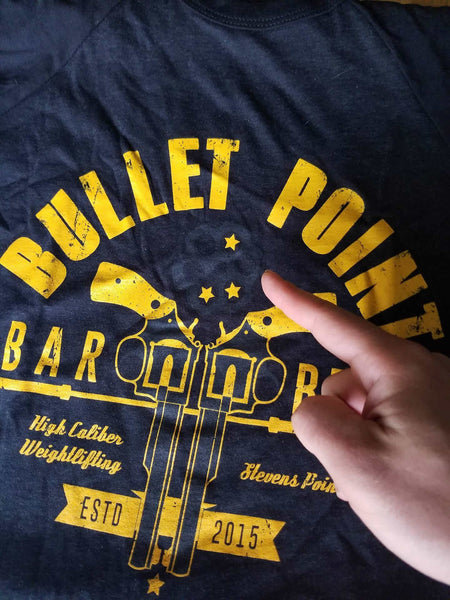 **MISPRINT** Bullet Point Barbell Club 3/4 Baseball T-Shirt