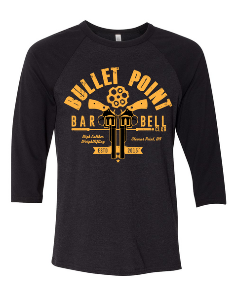 Bullet Point Barbell Club 3/4 Baseball T-Shirt (Heather Black/Black)