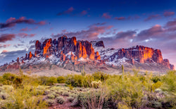 Snowy Superstition Mountains 11x14 Canvas