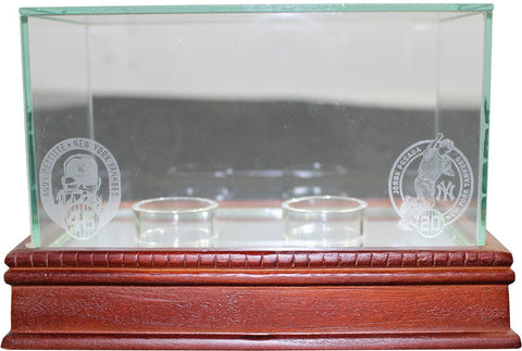 Andy Pettitte & Jorge Posada Engraved Retirement Logos Glass Double Baseball Case