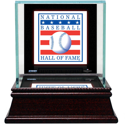 Baseball Hall of Fame Logo Background Glass Baseball Case