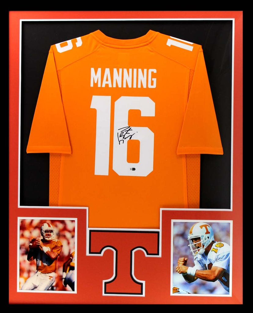 online retailer 42b6a fb542 Peyton Manning Signed Tennessee Volunteers Framed Orange Custom Jersey