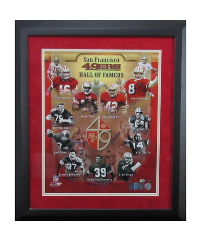 San Francisco 49ers Signed Hall Of Famers 16x20 Framed Photo Featuring Montana, Rice, Young, & Lott