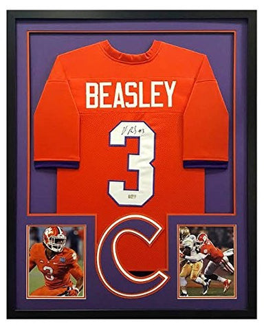 Vic Beasley Signed Clemson Tigers Custom Framed Orange Jersey - Cut Decal