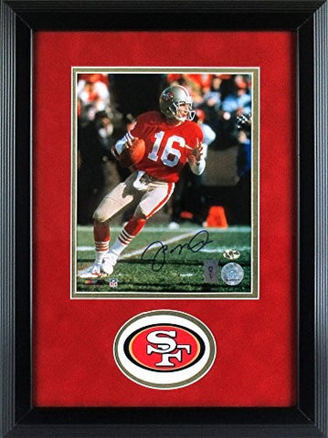 "Joe Montana Autographed/Signed San Francisco 49ers Framed 8x10 NFL Photo - ""Dropping Back"""