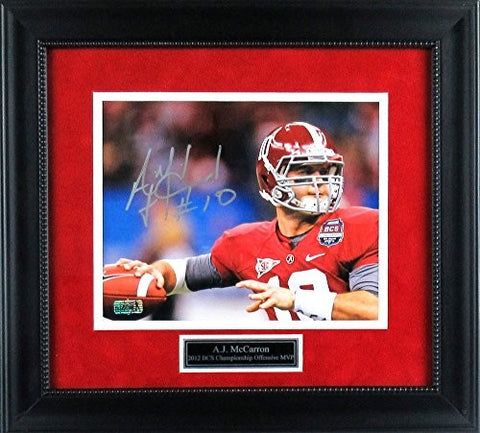 AJ McCarron Autographed/Signed Alabama Crimson Tide Framed 8x10 NCAA Photo - Red Jersey