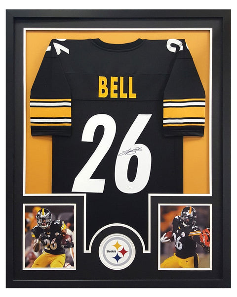 LeVeon Bell Signed Pittsburgh Steelers Black Framed Custom Jersey - Circle Decal