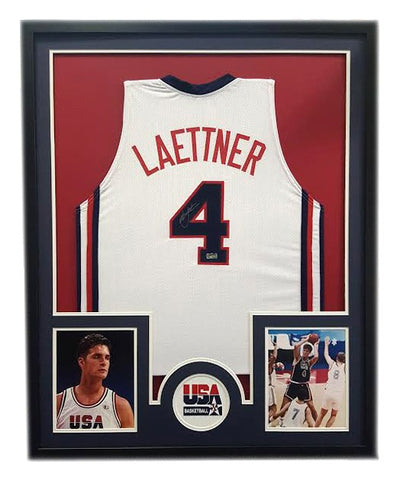 Christian Laettner Signed U.S.1992 Dream Team Olympic Framed White Custom Jersey - Circle Decal
