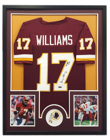"Doug Williams Signed Washington Redskins Framed Maroon Custom Jersey with ""SB XXII MVP"" Inscription - Circle Decal"