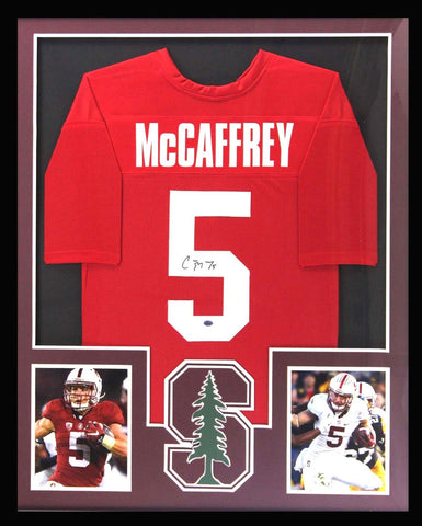 Christian McCaffrey Signed Stanford Cardinal Framed Red Custom Jersey