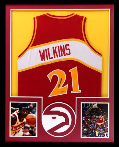 Dominique Wilkins Signed Atlanta Hawks Framed Throwback Red Custom Jersey
