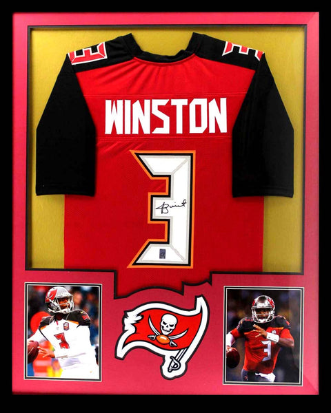 Jameis Winston Signed Tampa Bay Buccaneers Framed Red Custom Jersey