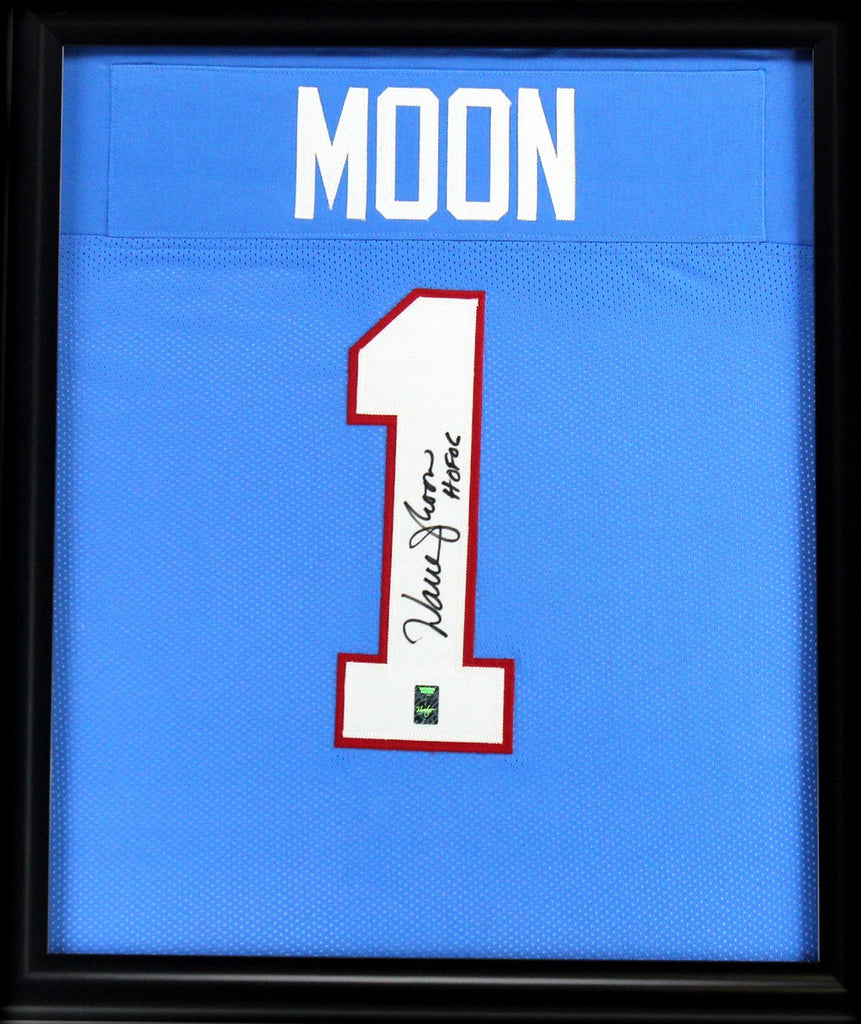 17d33a5e5 Warren Moon Signed Houston Oilers Framed Throwback Powder Blue Custom Jersey  With