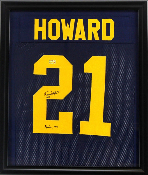"Desmond Howard Signed Michigan Wolverines Framed Custom Blue Jersey With ""Heisman 91"" Inscription"