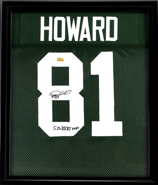 "Desmond Howard Signed Green Bay Packers Framed Custom Green Jersey With ""SB XXXI MVP"" Inscription"