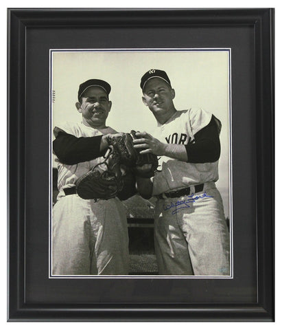 Whitey Ford Signed New York Yankees Black and White Framed 16x20 Photo - with Yogi Berra