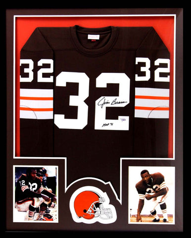 "Jim Brown Signed Cleveland Browns Framed Mitchell & Ness Authentic Jersey With ""HOF 71"" Inscription"