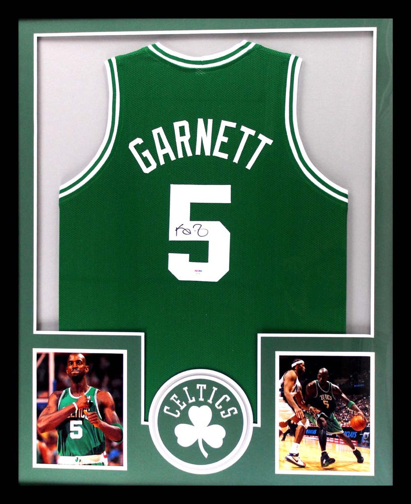 best website 24cd2 fcf02 Kevin Garnett Signed Boston Celtics Framed Green Custom Jersey