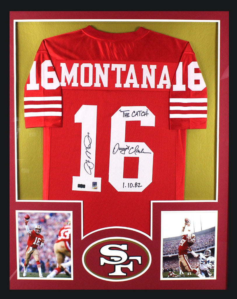 huge discount 1457e 9ca70 Joe Montana & Dwight Clark Signed San Francisco 49ers Framed Red Custom  Jersey With