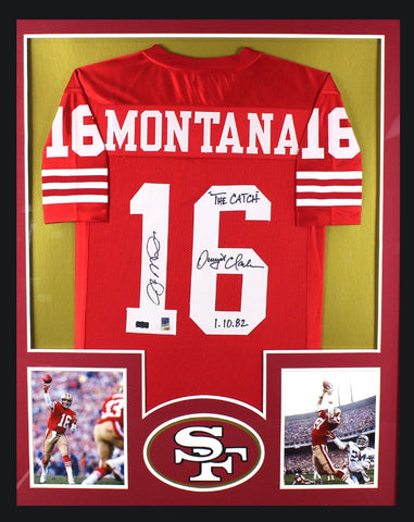 "Joe Montana & Dwight Clark Signed San Francisco 49ers Framed Red Custom Jersey With ""The Catch - 1.10.82"" Inscription"