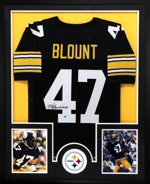 Mel Blount Signed Pittsburgh Steelers Framed Black Custom Jersey With