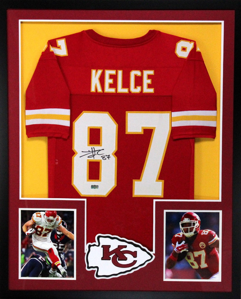 25ca40859 Travis Kelce Signed Kansas City Chiefs Framed Custom Red Jersey – Super  Sports Center