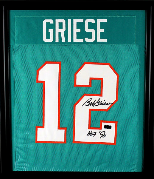 "Bob Griese Signed Miami Dolphins Framed Green Custom Jersey With ""HOF 90"" Inscription"