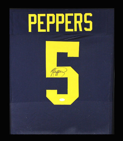 Jabrill Peppers Signed Michigan Wolverines Framed Blue Custom Jersey