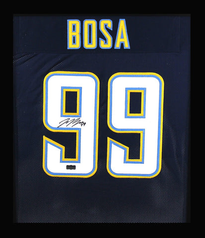Joey Bosa Signed Los Angeles Chargers Framed Navy Blue Custom Jersey