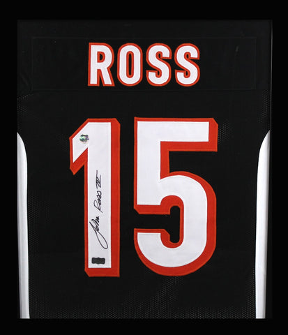 John Ross Signed Cincinnati Bengals Framed Black Custom Jersey