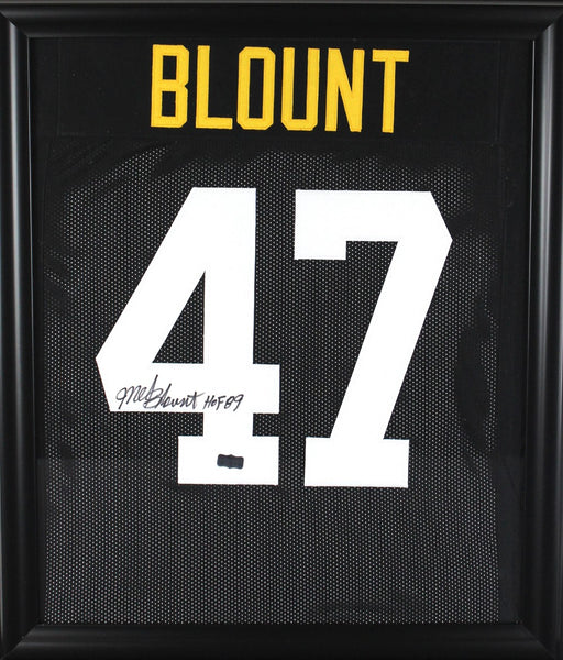 "Mel Blount Signed Pittsburgh Steelers Black Framed Custom Jersey With ""HOF 89"" Inscription"