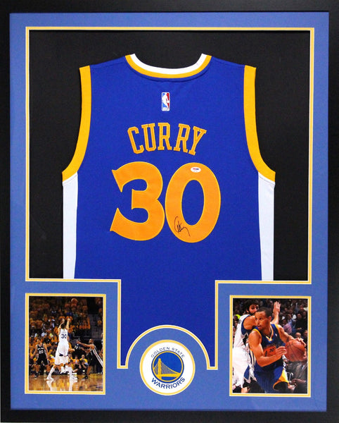 Steph Curry Signed Golden State Warriors Adidas Framed Swingman Navy Blue NBA Jersey