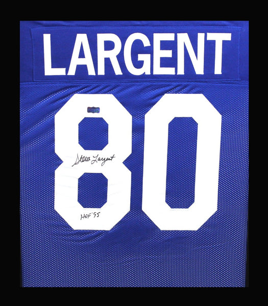 "Steve Largent Signed Seattle Seahawks Framed Blue Custom Jersey With ""HOF 95"" Inscription"