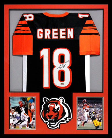 AJ Green Signed Cincinnati Bengals Framed Black Custom Jersey