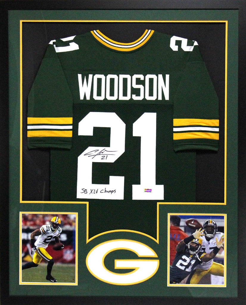huge discount a2d14 2786f Charles Woodson Signed Green Bay Packers Framed Green Custom Jersey with
