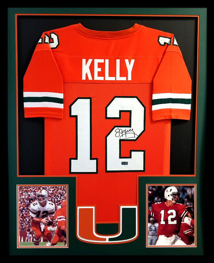 detailed pictures c3d39 9679a Jim Kelly Signed Miami Hurricanes Framed Orange Custom Jersey