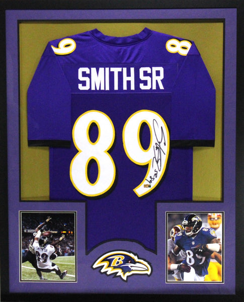 Steve Smith Sr Signed Baltimore Ravens Framed Purple Custom Jersey