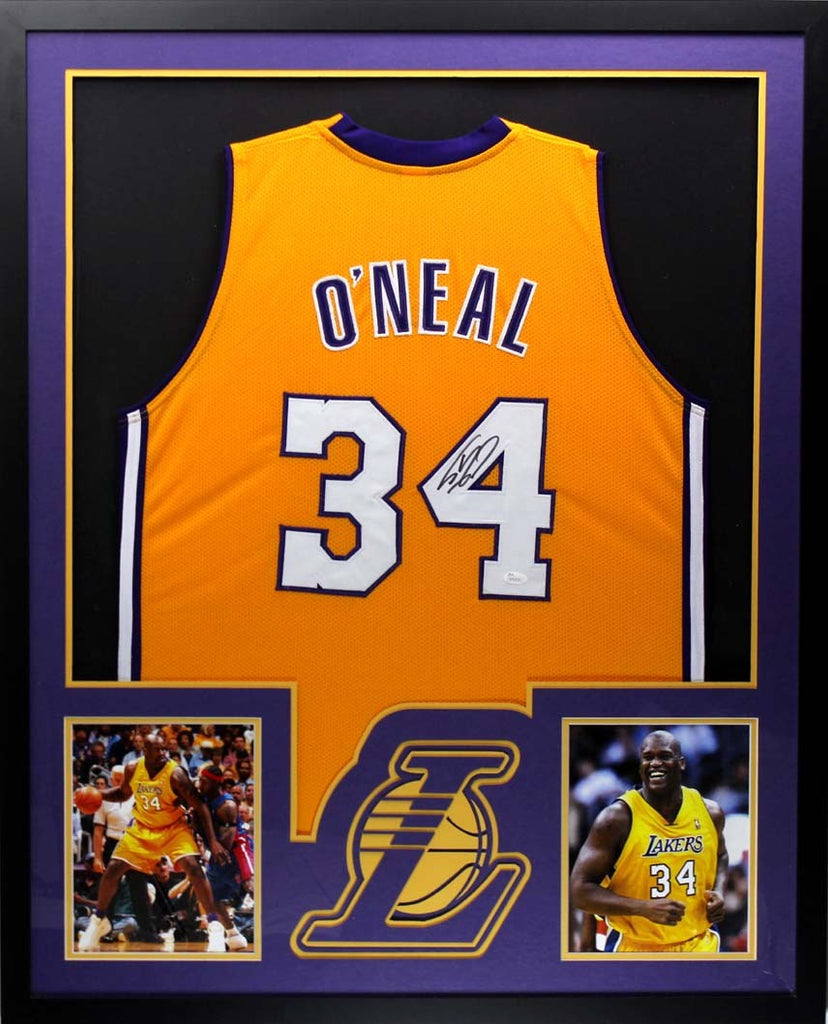 Shaquille O Neal Signed Los Angeles Lakers Framed Yellow Custom Jersey –  Super Sports Center 039cb1a3f
