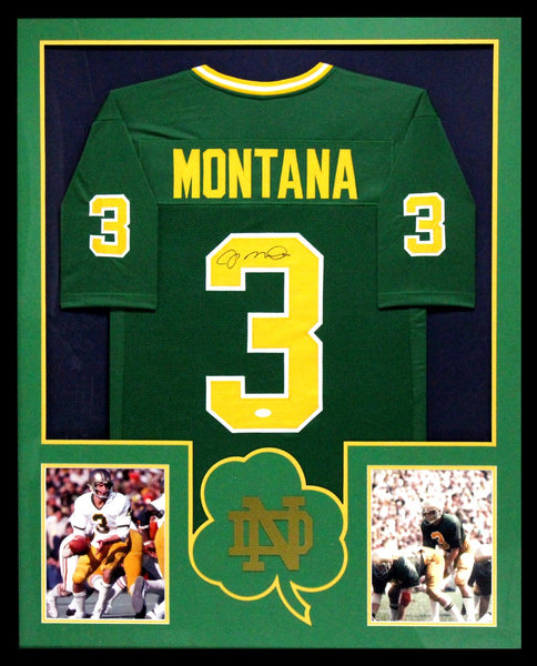 separation shoes ea864 c4513 Joe Montana Signed Notre Dame Fighting Irish Framed Green Custom Jersey