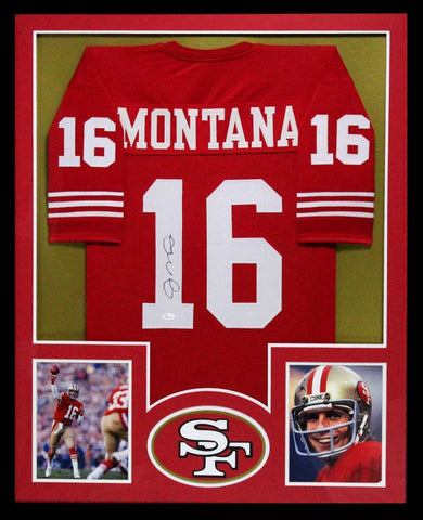 Joe Montana Signed San Francisco 49ers Red Custom Framed Jersey