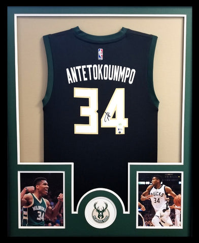 Giannis Antetokounmpo Signed Milwaukee Bucks Framed Black Replica Jersey