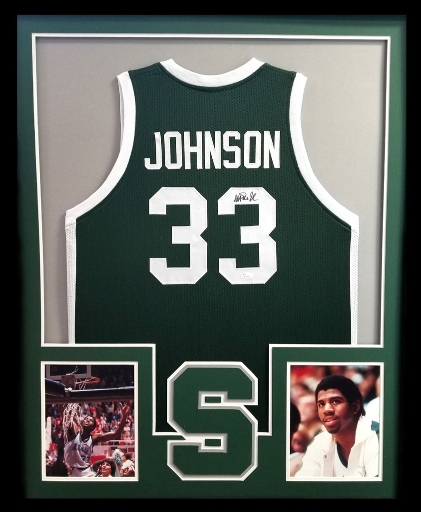 new style 83d70 0554a Magic Johnson Signed Michigan State Spartans Framed Green Custom Jersey