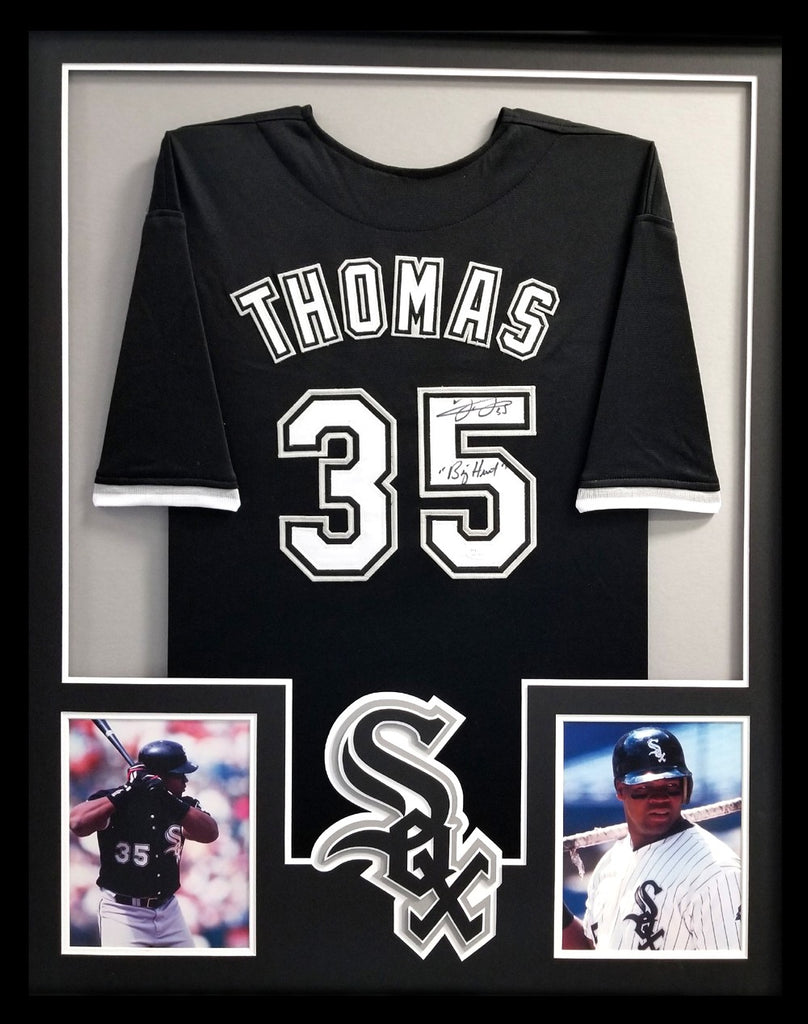 fc05f97ac Frank Thomas Signed Chicago White Sox Framed Black Custom Jersey With –  Super Sports Center