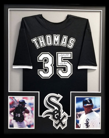 "Frank Thomas Signed Chicago White Sox Framed Black Custom Jersey With ""Big Hurt"" Inscription"