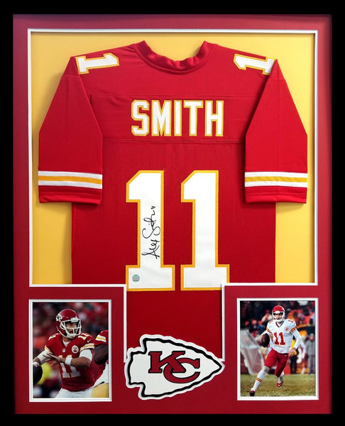 Alex Smith Signed Kansas City Chiefs Framed Red Custom Jersey