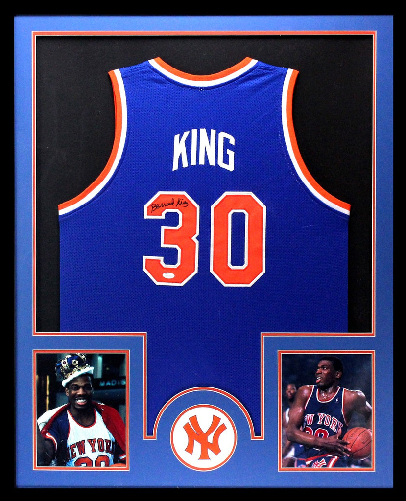 newest bc627 2ce9f Bernard King Signed New York Knicks Framed Blue Custom Jersey
