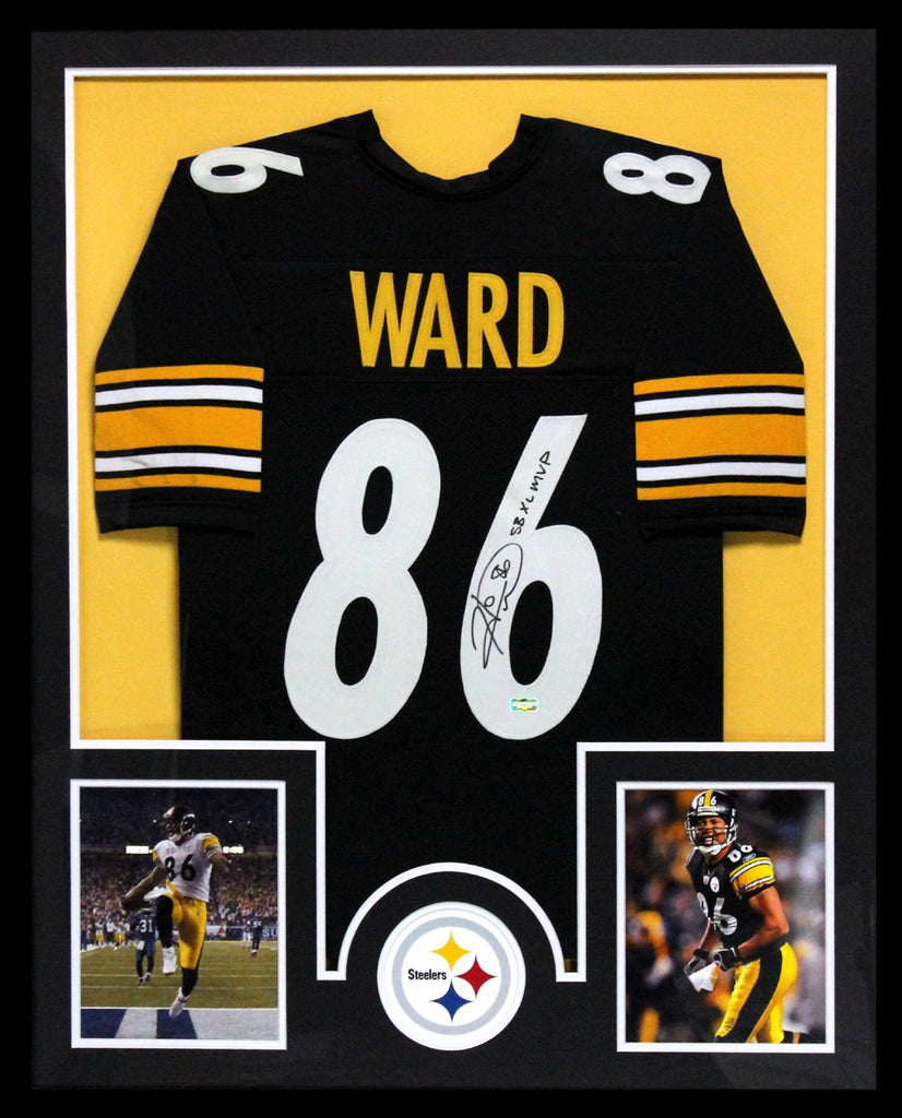 Hines Ward Signed Pittsburgh Steelers Framed Black Custom Jersey