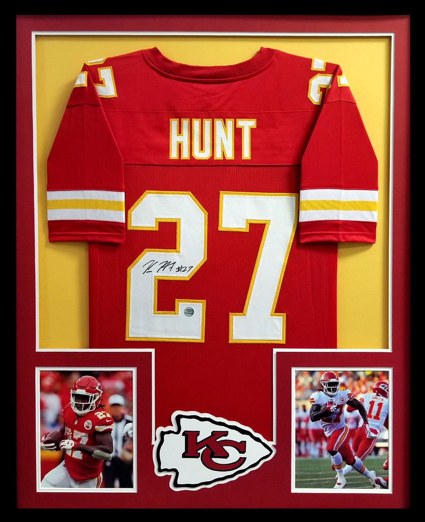900ffb806 Kareem Hunt Signed Kansas City Chiefs Framed Custom Red Jersey – Super  Sports Center